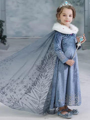 Girls Elsa Frozen 2 Inspired Dress Gown With Cape & Faux Fur Collar