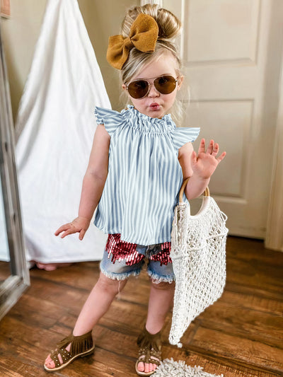 girls spring set features a striped top and distressed denim shorts with sequin details grey 2T-10Y