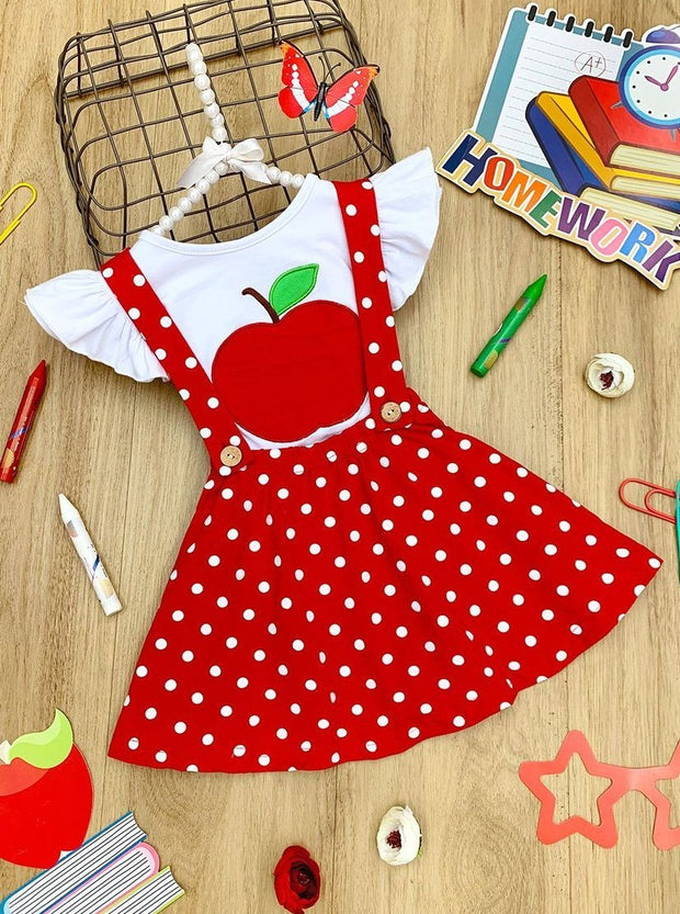 Girls Flutter Sleeve Apple Print Top & Polka Dot Overall Dress Set