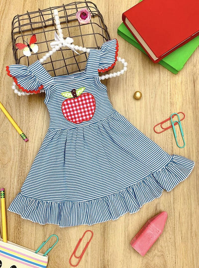 Girls Plaid Apple Applique Ruffled Flutter Sleeve Dress