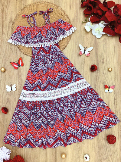 Girls Boho Off the Shoulder Strap Ruffled Lace Insert Maxi Dress