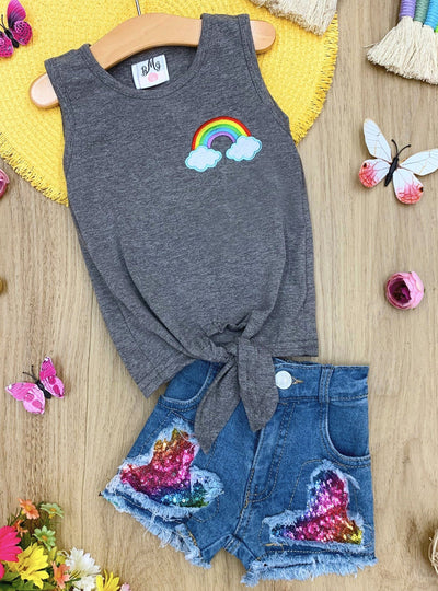 Girls Rainbow Applique Knot Top and Sequin Denim Shorts Set