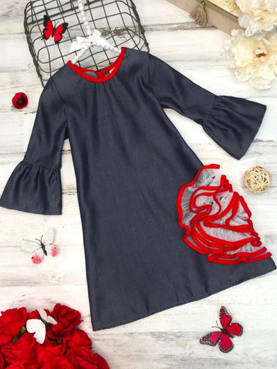 Girls Bell Sleeve Side Ruffled Flower Dress