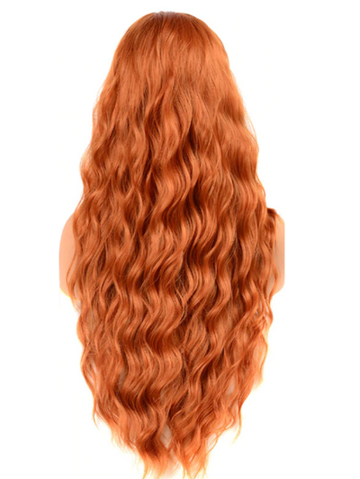 Girls Red Synthetic Deep Wave Hair Wig