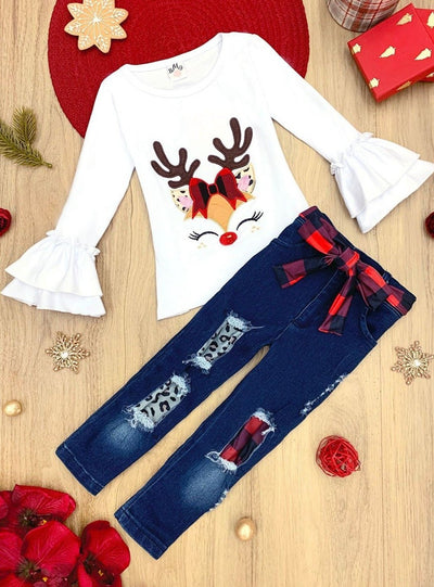 Girls Rudolph Applique Ruffled Top & Ripped Jeans with Belt Set