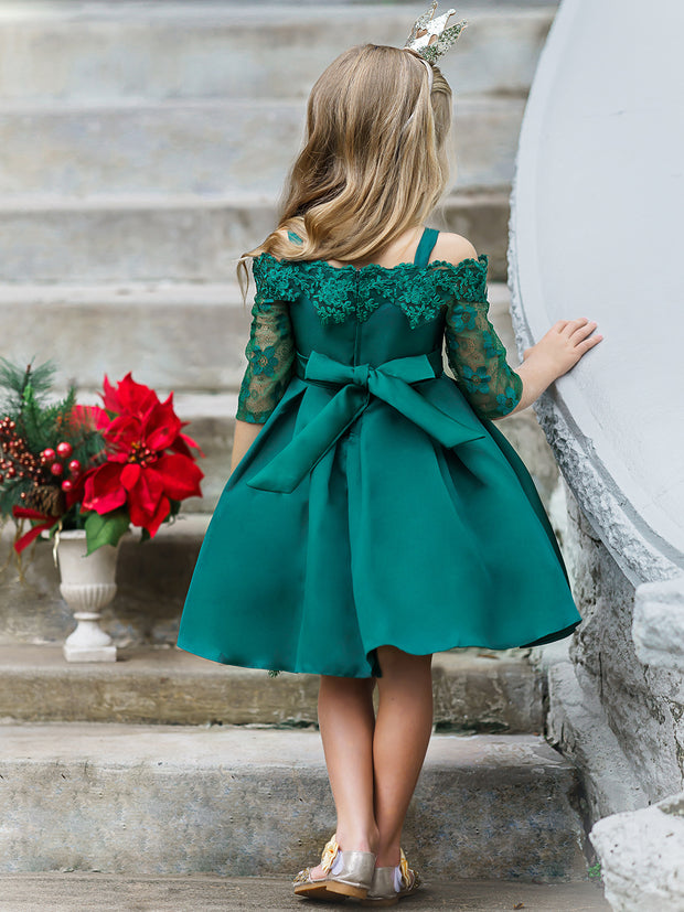 Girls Off the Shoulder Lace Sleeve Embroidered Neckline Holiday Dress