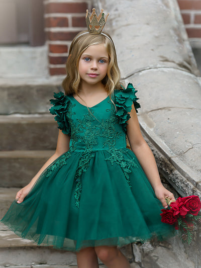 Girls Flower Petal Shoulder Embroidered Bodice Waterfall Holiday Dress