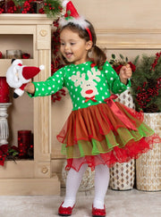 Girls Long Sleeve Polka Dot Reindeer or Tree Holiday Tutu - Red / 2T - Girls Christmas Dress