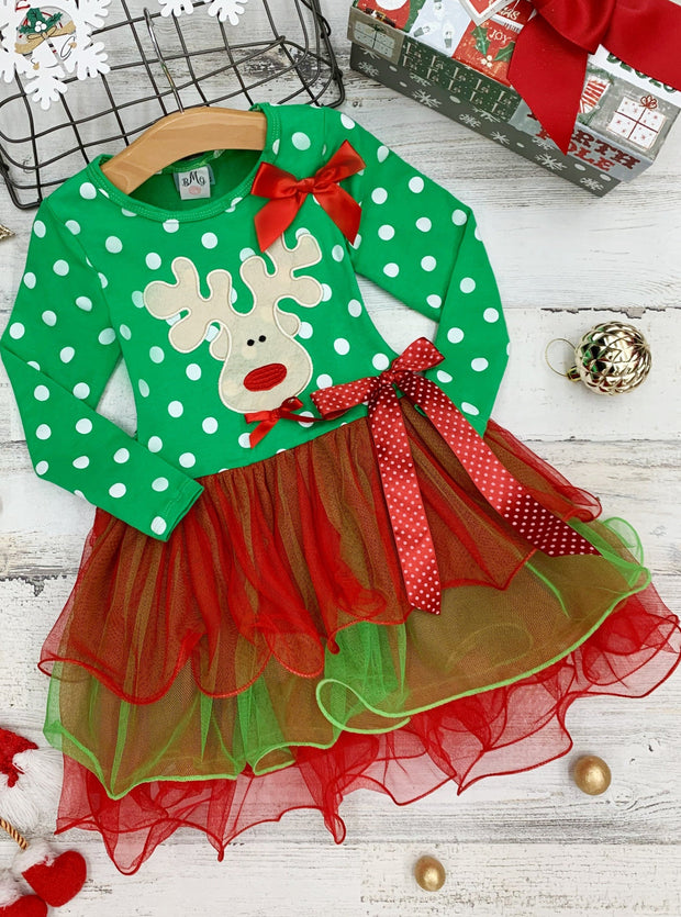 Girls Long Sleeve Polka Dot Reindeer or Tree Holiday Tutu - Green / 2T - Girls Christmas Dress