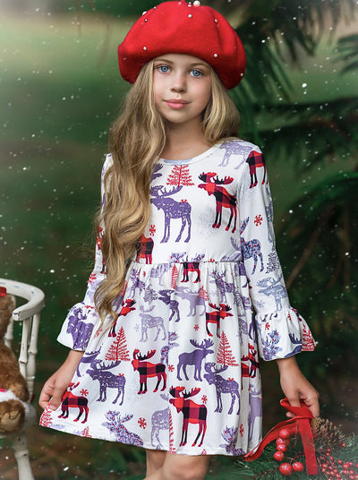Girls Creme Moose Print Dress with Bell Sleeves