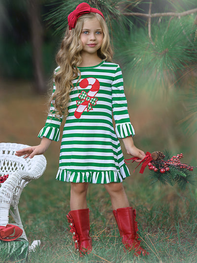 Girls Christmas Themed Red & Green Striped Candy Cane Ruffled Dress