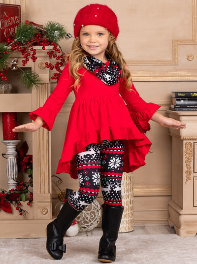 Girls Red & Black Long Sleeve Ruffled Tunic Winter Print Leggings & Scarf Set - Red / 3T - Girls Christmas Set