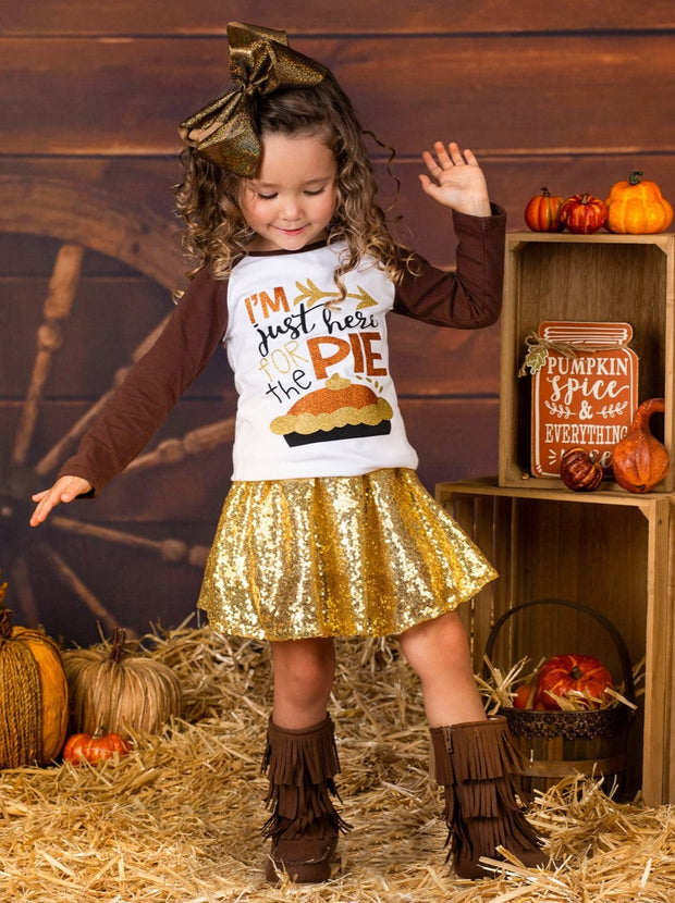"Girls Thanksgiving Themed ""I'm Just Here for the Pie"" Long Sleeve Raglan Top & Sequin Skirt Set"