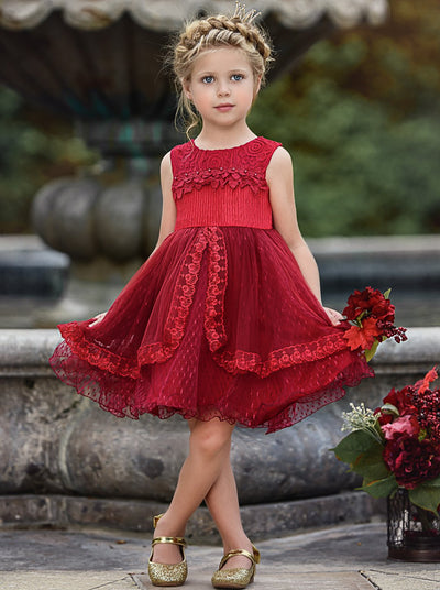 Girls Lace Sleeveless Floral Applique Tiered Lace Special Occasion Dress