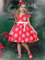 Girls Red Snowflake Holiday Dress