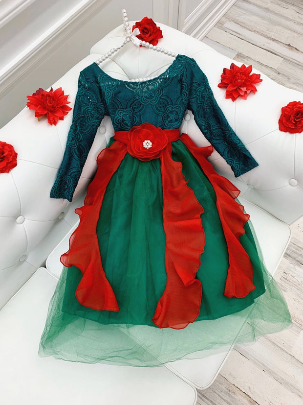 Girls long sleeved red and green formal dress