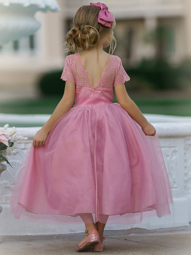 Girls Lace Sleeve Maxi Dress with Flower Clip