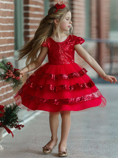 Girls Tiered Ruffle Sequined Holiday Dress