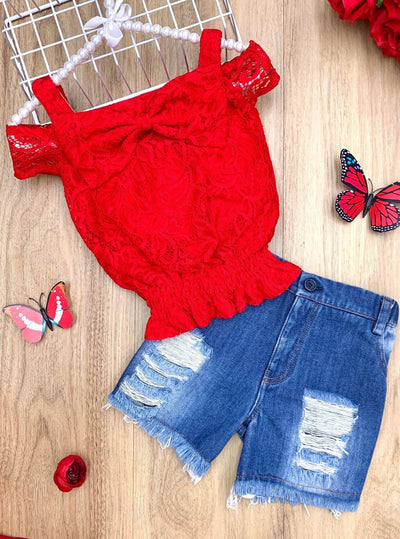 Girls Red Lace Top & Denim Shorts Set