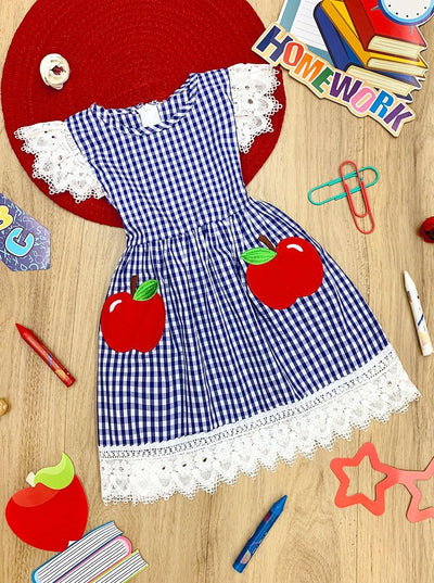 Girls Plaid Apple Print Crochet Ruffled Dress