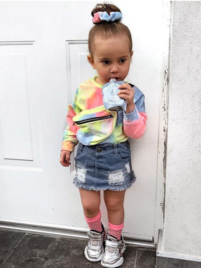 Girls Tie-Dye Sweater and Denim Skirt Set