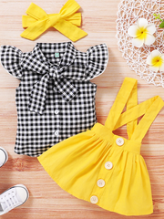 Baby set features a plaid top with front buttons and bow at the color, a skirt with cute suspenders, and a matching headband