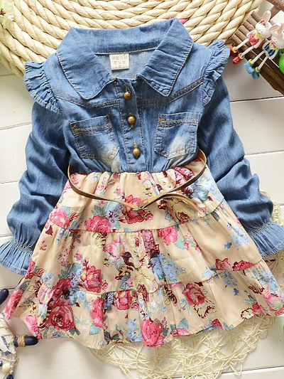 Girls dress feature a denim long-sleeved bodice with front buttons and a floral skirt and a vegan leather belt-beige