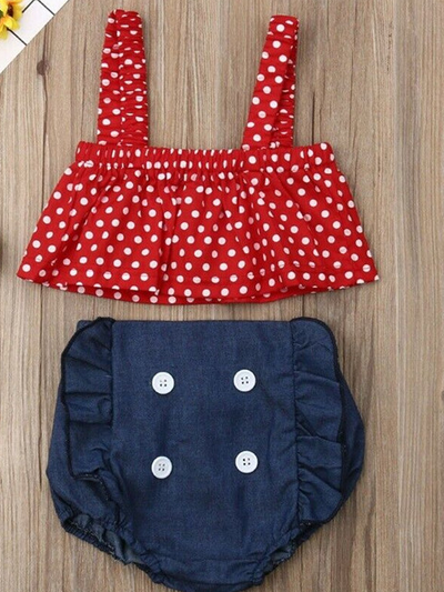 Baby set features a cropped top with polka dots and denim sailor-style bloomers