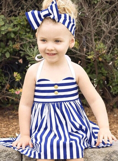 Girls Royal Striped Halter Dress with Bow