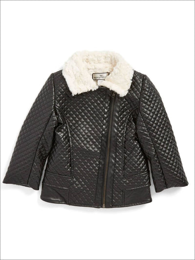 American Widgeon Quilted Synthetic Leather and Fur Collar Moto Jacket - Girls Jacket