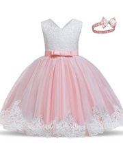 Baby Floral Lace Embroidered Beaded Dress with Bow-pink
