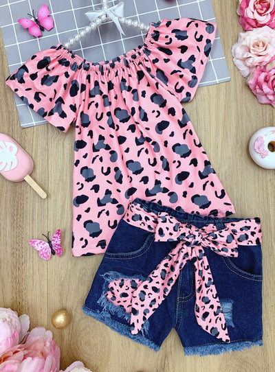 Girls Leopard Tunic and Belted Denim Shorts Set