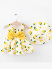 Baby dress has an adorable strawberry print and a large bow at the back and comes with a matching hat Yellow