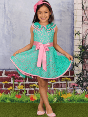 Girls Lace Ruffled Double Layer Collar Dress with Satin Sash
