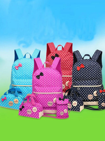 "Girls 16.5"" Waterproof Polkadot Bow Backpack +Pencil Case + Mobile Phone Bag Set 3pc Set (4 colors)"