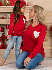 Mommy and Me Top with Sequin Heart 2T-10Y mom S-XXL red top white heart
