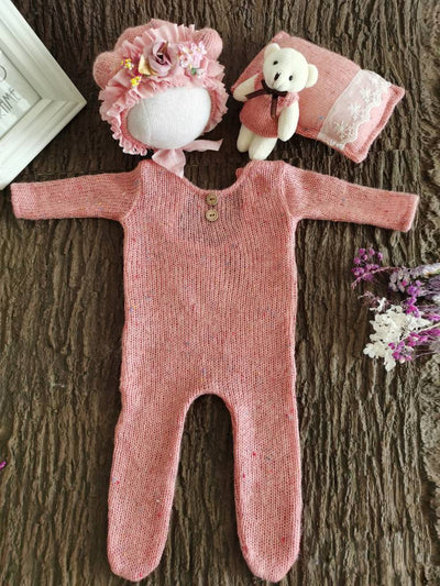 Baby Photoshoot Onesie with Cap, Pillow and Doll Set-Pink
