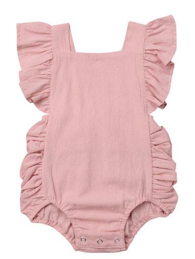 Baby onesie has cute little shoulder ruffles and ruffles on the side. Overall style with strap closure at the back  pink