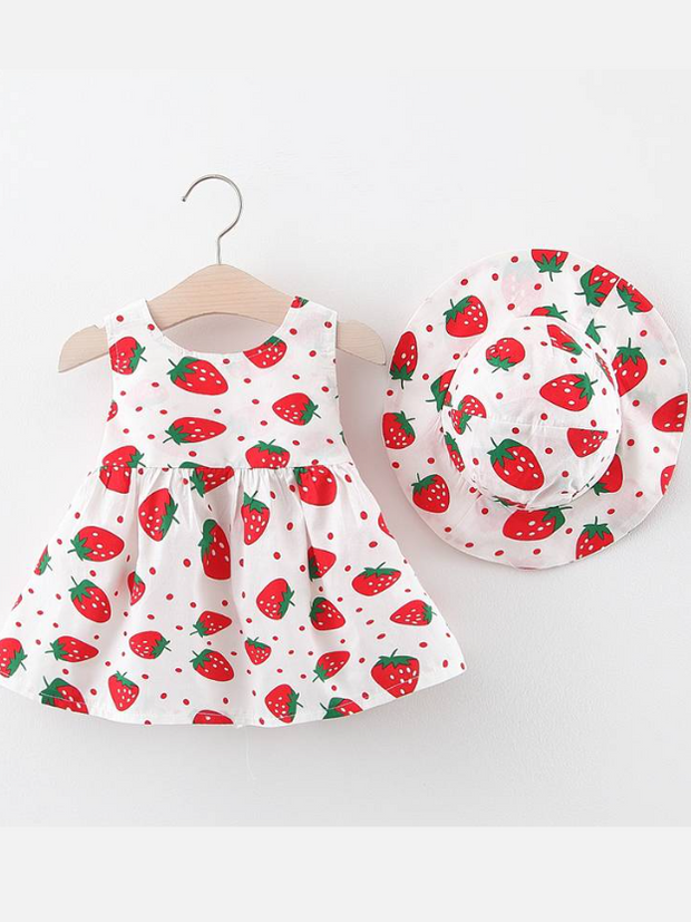 dress has an adorable strawberry print and a large bow at the back and comes with a matching hat red