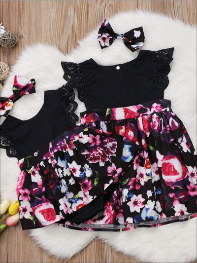 Big Sister & Little Sister Floral Print Ruffled Sleeve Dress with Matching Bow - Casual Spring Casual Dress