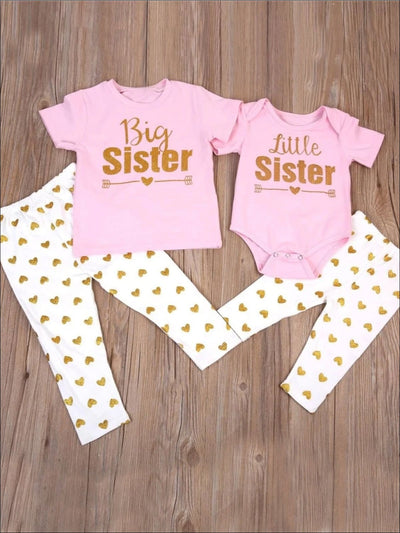 Big Sister & Little Sister Matching Shirt and Polka Dot Leggings Set - 6M - Girls Spring Casual Set