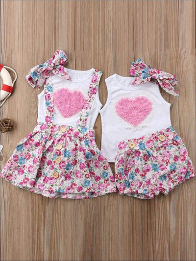 Big Sister & Little Sister Pink Heart Floral Print 2PC Set with Matching Hair Bow - Casual Spring Set
