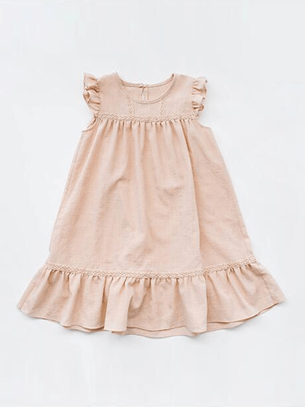 Girls Chiffon Flutter Sleeve Ruffled Casual Dress