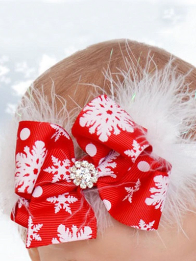 Girls Red Christmas Bow Headband