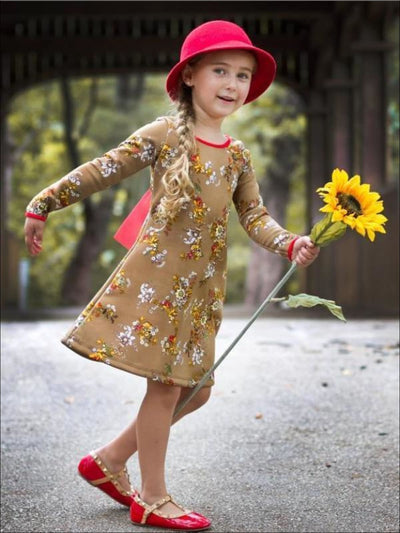 Brown Floral A-Line Dress w/ Back Tie Detail - Brown Floral / 2T - Fall Low Stock