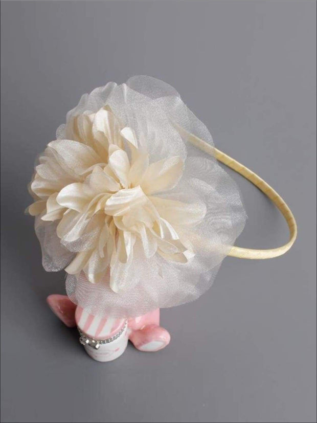 Butterfly Flower Headband - Creme / One - Hair Accessories