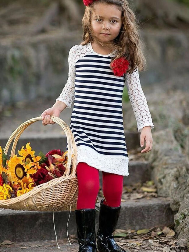 Girls Navy Striped Lace Raglan Sleeve Tunic & Red Leggings Set