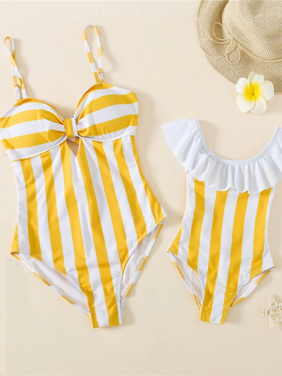Mommy and Me Zebras at the Beach Striped One Piece Swimsuit