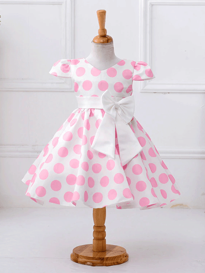 Girls Pink Polka Dot Bow Special Occasion Party Dress