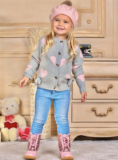 Girls Heart Bow Buttoned Cardigan Sweater 2t-10Y grey with pink heart